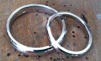 Platinum Court Shaped wedding Rings