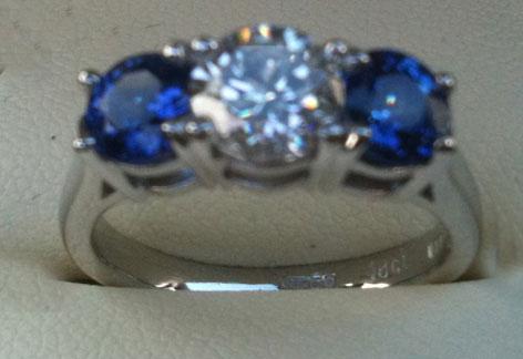 Sapphire and Diamond 3 stone