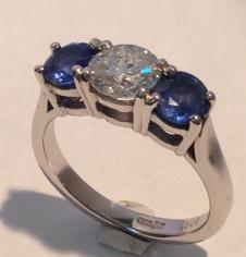 Sapphire & and Diamond 3 Stone