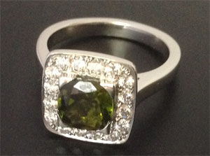 Green Tourmaline with Diamonds
